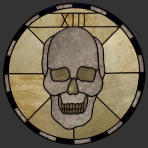 La Morte Circular Stained Glass Pendant