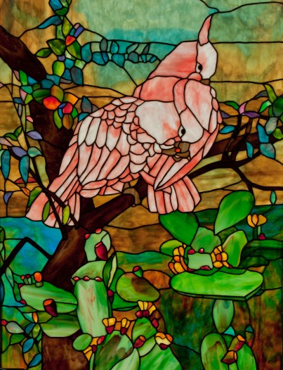 Two Cockatoos stained glass panel