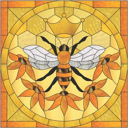Queen Bee PDF stained glass pattern, Bee with crown and flowers in yellow and amber colors, designed by David Kennedy