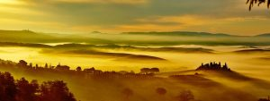 Scenic Tuscany landscape panorama with rolling hills and valleys