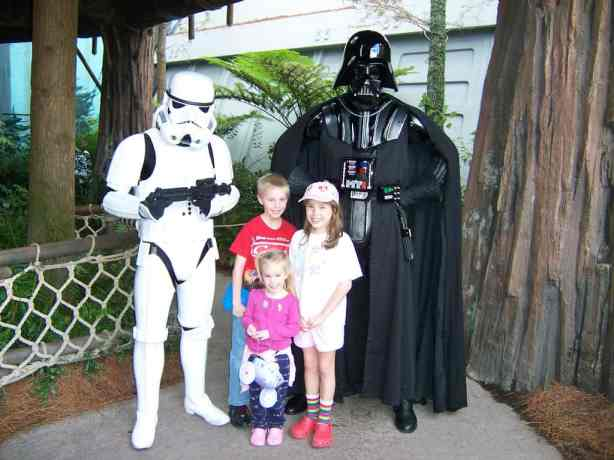 Darth Vader & Storm Trooper - Bad guys. Located at restrooms near Backlot Tour. Fixed location.
