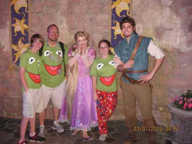 Flynn Rider and Rapunzel at Magic Kingdom Leap Day 2012. 3 1/2 hour wait!