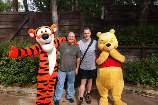 EuroRob and I meeting Winnie the Pooh and Tigger in Frontierland.