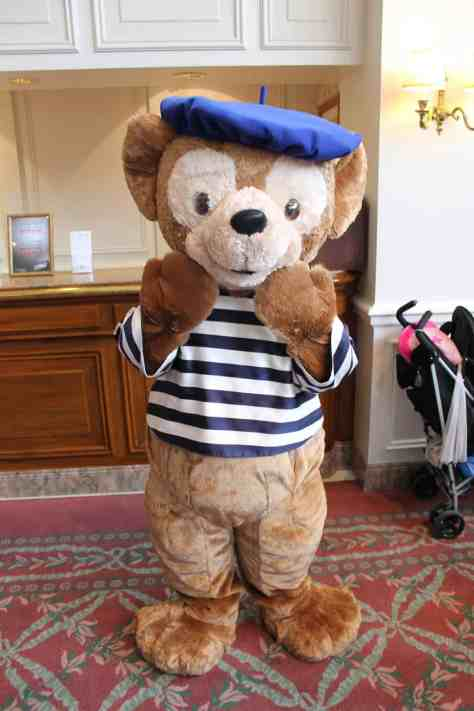 Duffy can be found at the Disneyland Hotel occasionally wearing his French outfit. This is the blue version, there is also a red version.