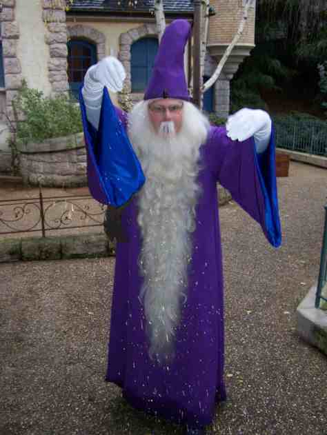 Merlin can be found in the Parade nowadays. He used to have a small show in Fantasyland and afterwards people were able to meet him.