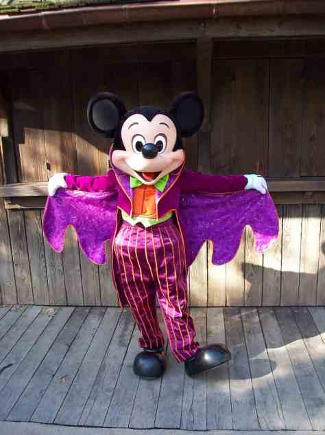 Mickey wearing his Halloween outfit at the Disneyland Park.