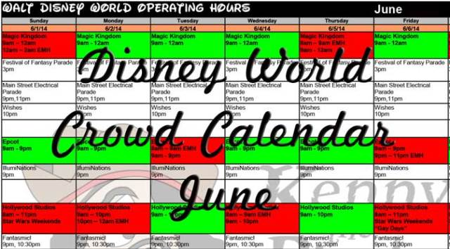 June Disney World Crowd Calendar, Park Hours, Entetertainment, Fastpass and Dining Booking Dates KennythePirate, EasyWDW Crowd Calendar, Best Times to Visit Disney World