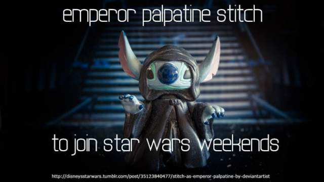 star wars weekends emperor palpatine stitch, star wars weekends characters