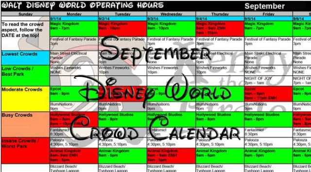Disney World Crowd Calendar September 2017