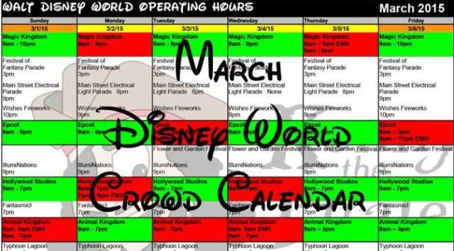 March Disney World Crowd Calendar Park Hours KennythePirate