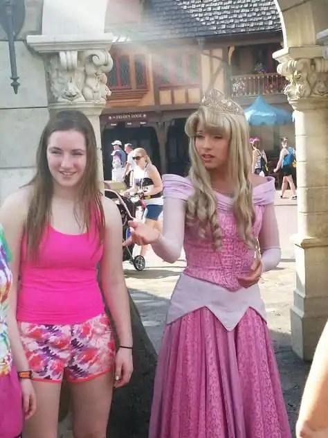 Aurora meet and greet in Magic Kingdom at Walt Disney World