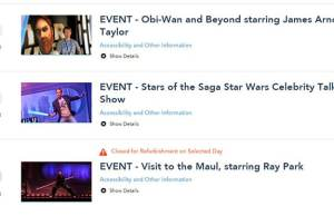 Star Wars Weekends Fastpass+ Shows