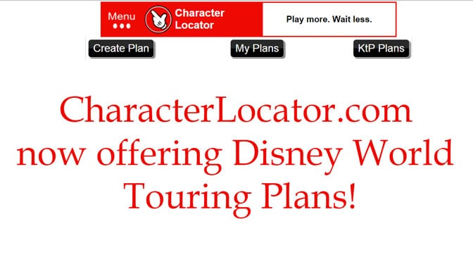 Character Locator now offers Disney World Touring Plans!