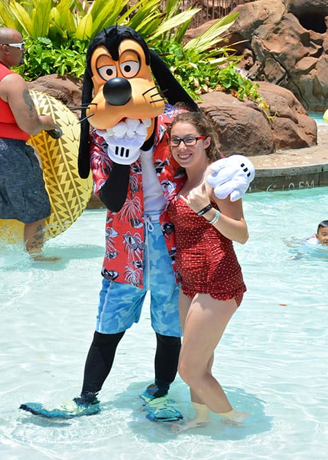 Goofy by the pool at Disney's Aulani in Oahu Hawaii