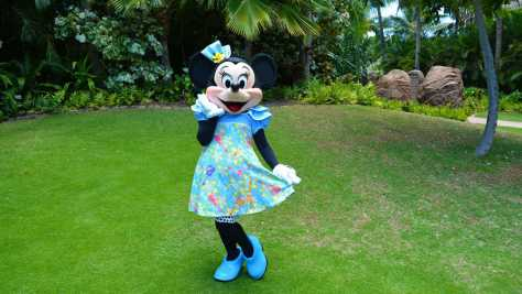 Minnie Mouse on the Halawai Lawn at Disney's Aulani in Oahu Hawaii