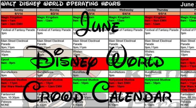 June 2016 Disney World Crowd Calendar Park Hours Fastpass and Dining Booking Dates KennythePirate