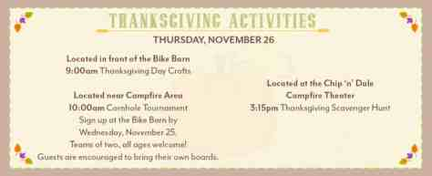 thanksgiving activities at Disney World Fort Wilderness resort