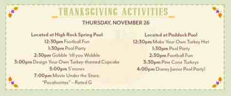 thanksgiving activities at Disney World Saratoga Springs