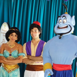 Aladdin, Jasmine and Genie at Disneyland Adventureland 2015