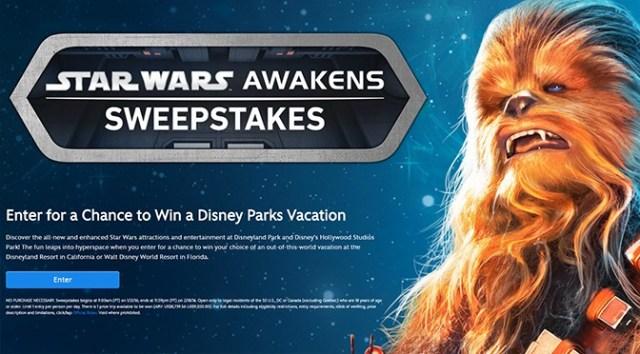 Star Wars Awakens Disney Parks Sweepstakes