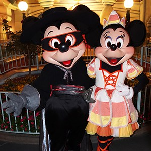 Mickey Mouse Zorro and Minnie Mouse Candy Cane at Disneyland Mickey's Halloween Party