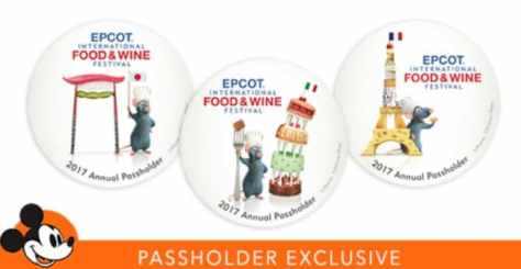 Annual Passholder Exclusive 2017 Epcot Food and Wine Buttons