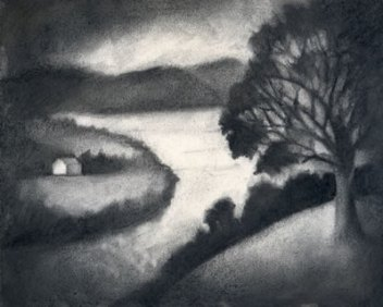 charcoal drawing of the river view from the John Rankin house in Ripley, OH