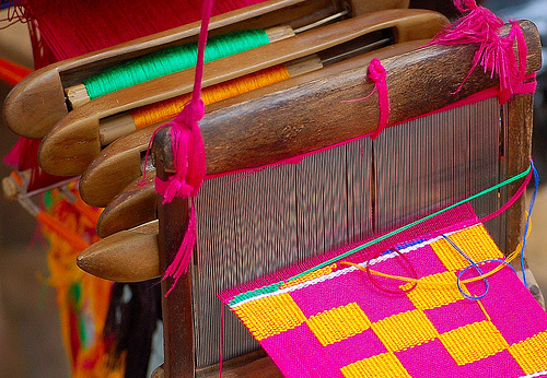 Kente Weaving close-up shot