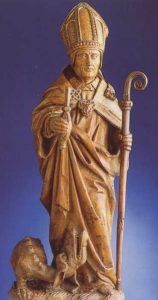 www.heiligen-3s.nl/heiligen/05/13/05-13-0384-Servatius-Maastricht.php +++ 15e eeuw. Beeld van St.Servatius met sleutel. Uit boekje van afb.9.