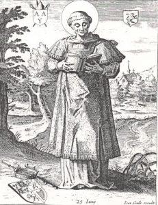 www.heiligen-3s.nl/heiligen/06/25/06-25-0741-Adelbert-Egmond.php +++ Illustratie. Adelbert van Egmond, diaken van Sint Willibrord.