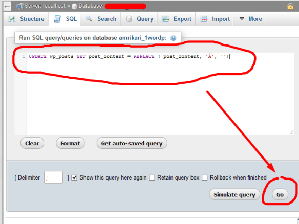 replace text from phpMyAdmin