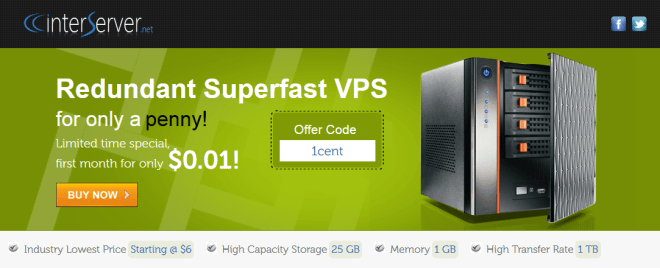 promo vps interserver 0.01 dollar coupon