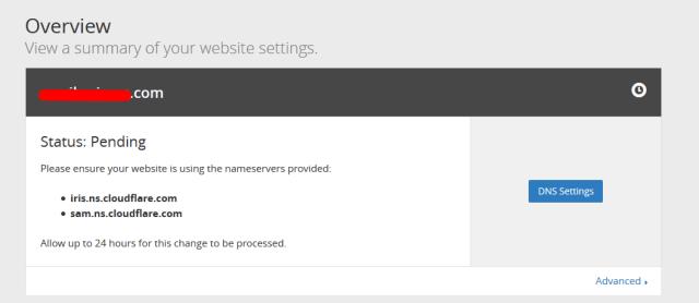 proses propagasi domain ke cloudflare