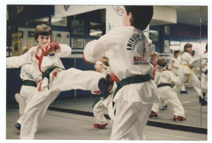 Jeremy Kicking Jamie in Taekwondo Class