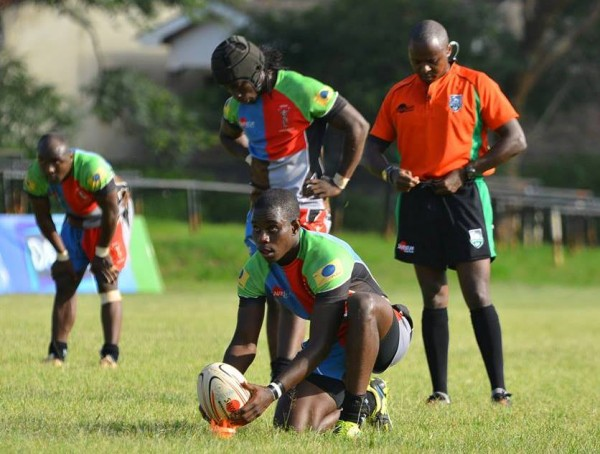 Quins scrumhalfLyle Asiligwa tees up for goal in previous action/Photo/Odd Shaped Balls Kenya