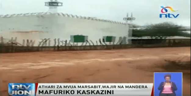 A mosque flooded in Wajir on Tuesday, October 15. The flash floods left a death trail.