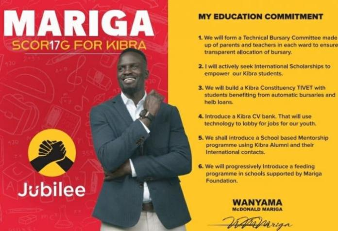 Mariga's plan for education in the constituency