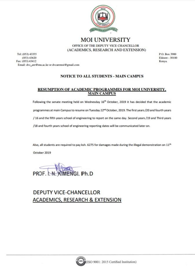 The Memo issued by Moi University on Wednesday, October 16 over the resumption date and the destroyed property.
