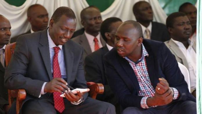 William Ruto and Elgeyo Marakwet Senator Kipchumba Murkomen. Both leaders on Saturday, October 19, fought for the resurgence of Kimwarer dam