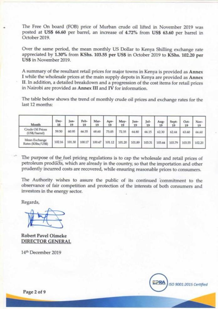 A statement by EPRA released on DEcember 14