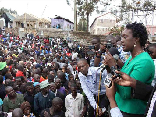 ODM leader Raila Odinga's daughter Rosemary addresses a rally in Kamukunji Grounds, Kibera, on June 23, 2017.