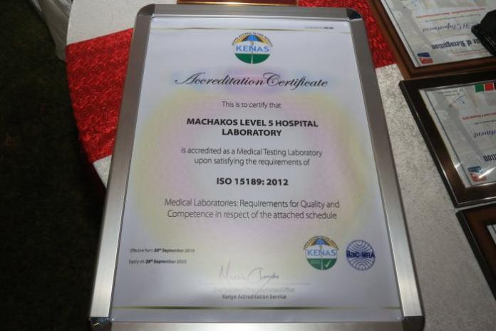 A photo of the ISO certificate awarded to the Machakos level 5 hospital laboratory on December 14