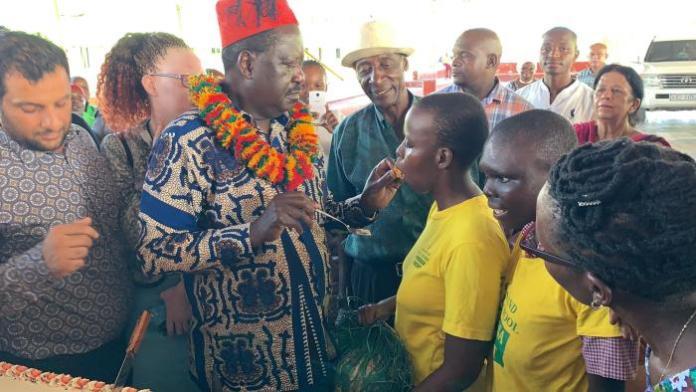 Raila Odinga shares a joyous moment with special needs children atSahajanand Special School in Mtwapa, Kilifi County on Tuesday, January 14, 2020