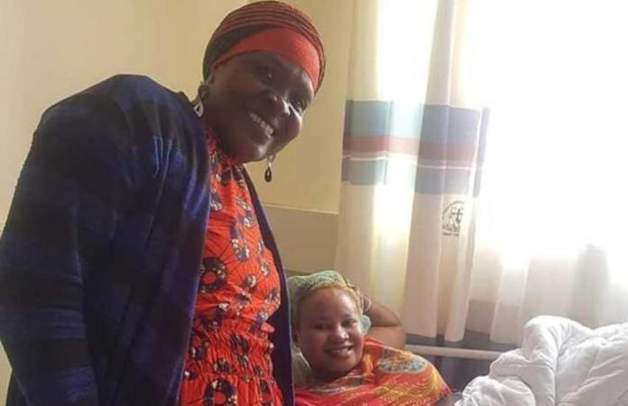'Mama Kayai' in hospital with fellow actress 'Nyasuguta' in hospital after she was involved in an accident in June 2019.
