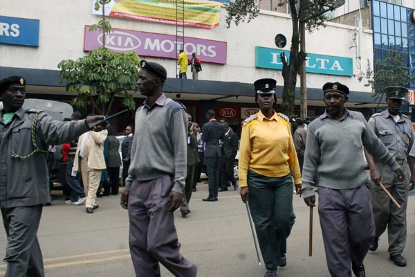 County Askaris going about their patrols in Nairobi.