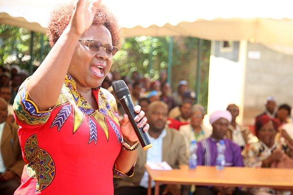 Kandara MP Alice Wahome speaks on January 15, 2020 in Kandara Town where she issued bursary cheques