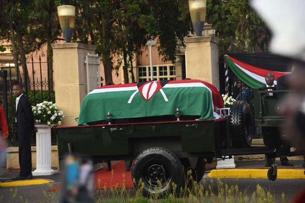 The casket bearing the remains of former Daniel Moi at Parliament Buildings on February 8, 2020