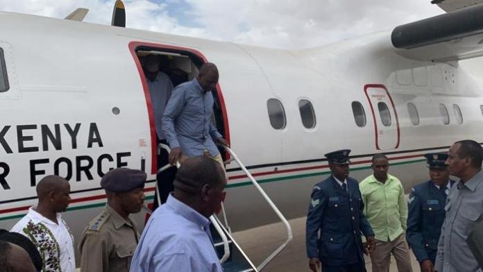 Deputy President William Ruto alighting from a Kenya Air Force jet
