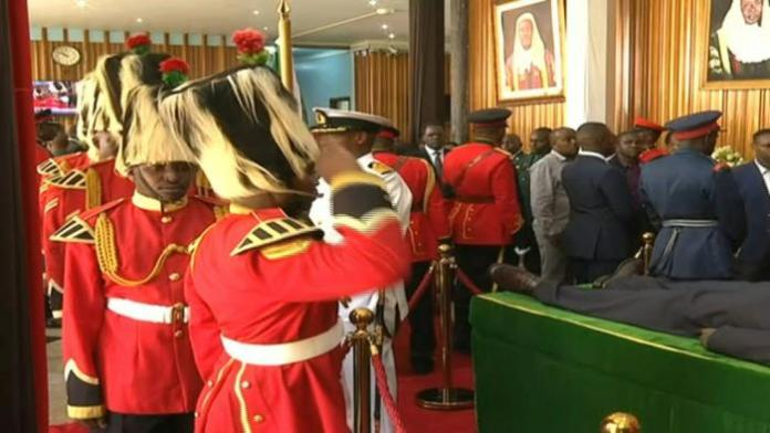 Former President Daniel Moi lies in state on February 8, 2020, at parliament buildings