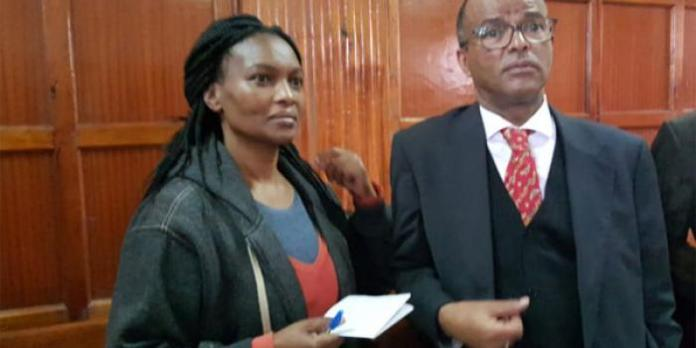 Sarah Wairimu Cohen with her lawyer Philip Murgor in court on September 6, 2019